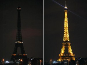 Paris Eiffel tower before and during Earth Hour.